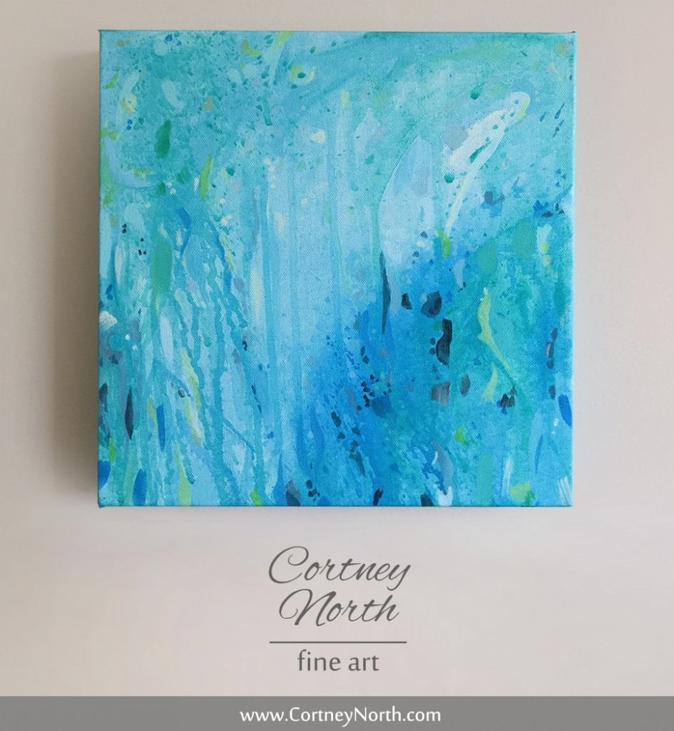 Blue, Green and Turquoise Abstract Painting with paint splatters
