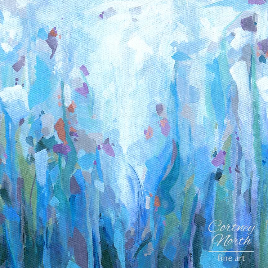 """Quietude"" Art Print by Cortney North - Blue and coral abstract painting"