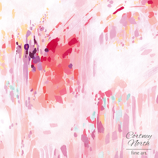 Effervescence Fine Art Print by Cortney North, pink, purple and coral painting