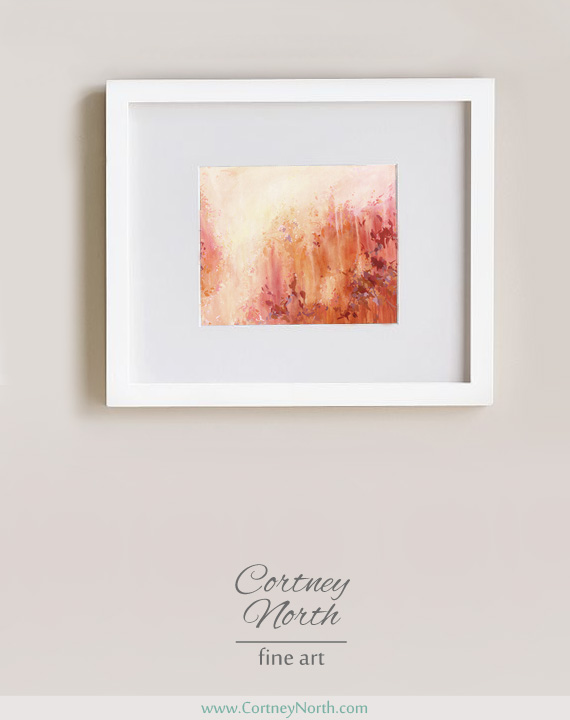 Autumn Impression Fine Art Print by Cortney North in white frame, autumn inspired painting, red and orange abstract art print