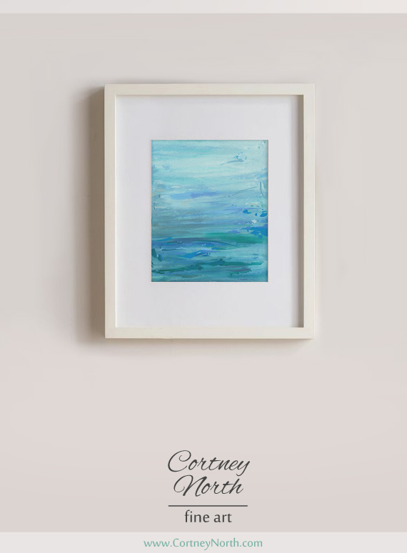 """Turquoise Waters"" Fine Art Print by Cortney North in white frame, blue and green water painting"
