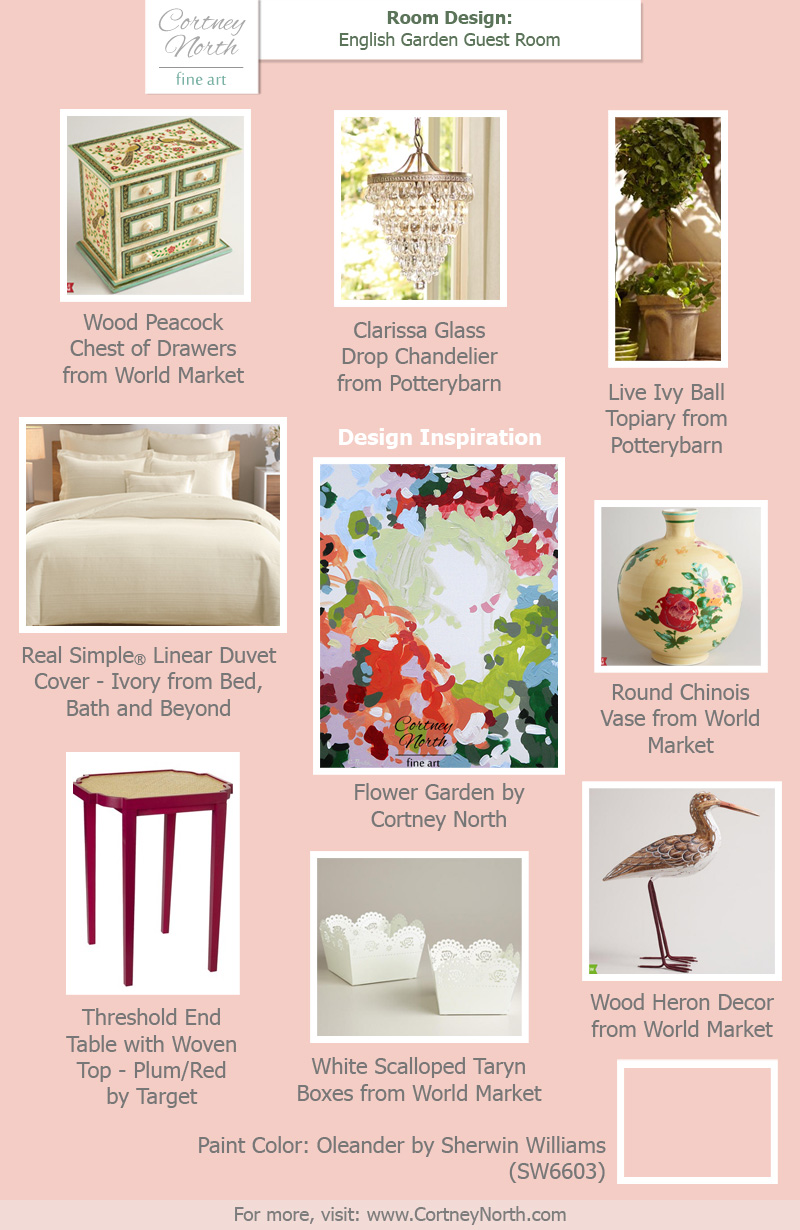 English garden guest room decorating ideas cortney north for Garden guest room