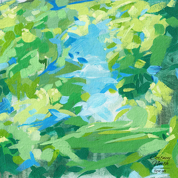 Springtime Meadow 12x12 print of original acrylic abstract painting by Cortney North