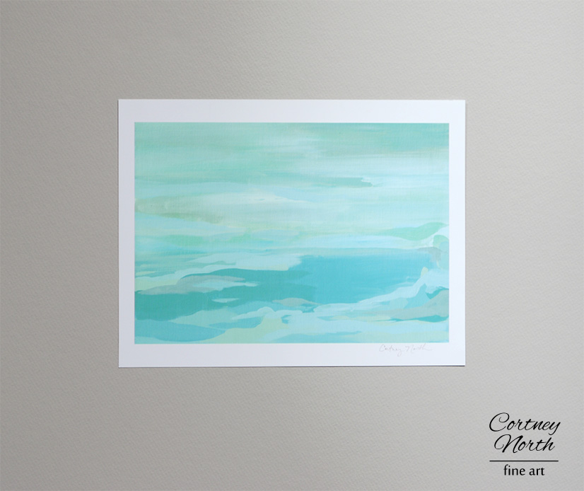 Turquoise and Gray acrylic painting by Cortney North at Cortney North Fine Art giclee print full image