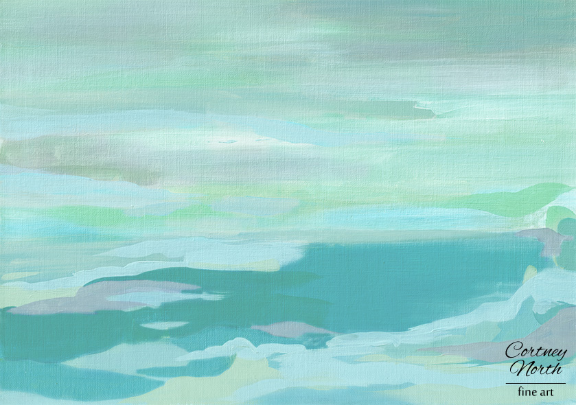 Turquoise and Gray acrylic painting by Cortney North at Cortney North Fine Art giclee print