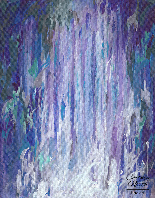 Waterfall 11x14 abstract acrylic painting print by Cortney North