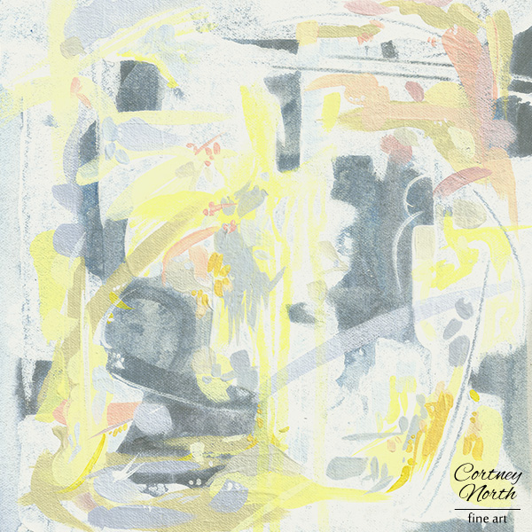 Yellow and Gray abstract art print by Cortney North