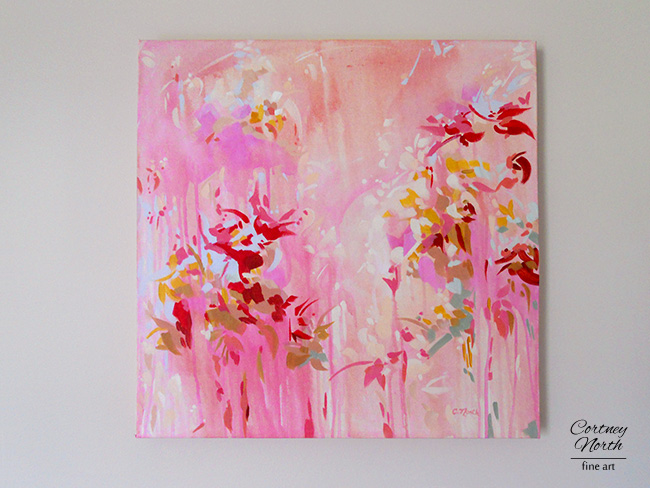 Pink and Red Abstract by Cortney North