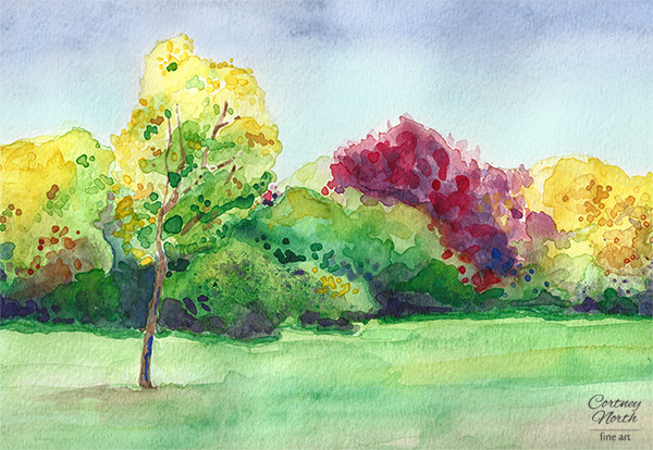Beautiful Autumn Day Watercolor by Cortney North