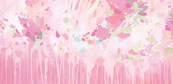 Coral and Pink Abstract Painting with paint drips by Cortney North