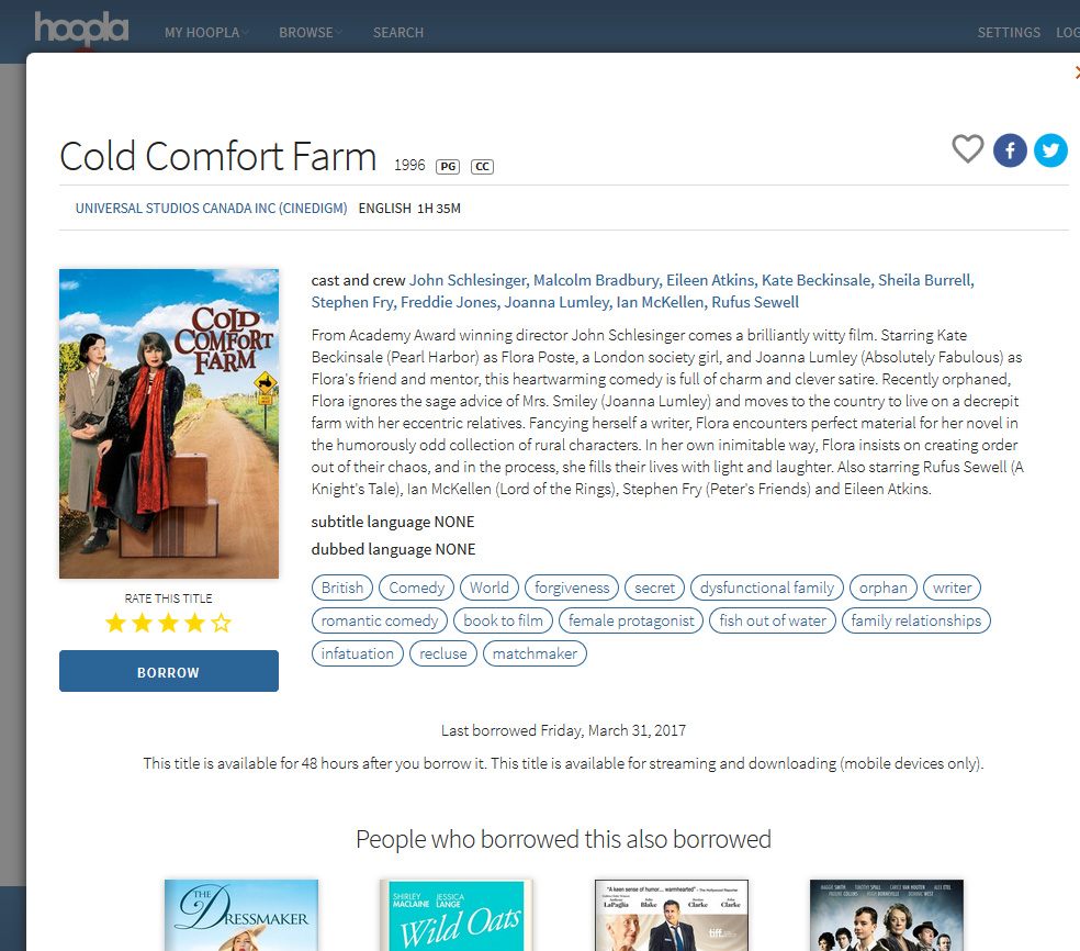 Cold Comfort Farm movie on Hoopla