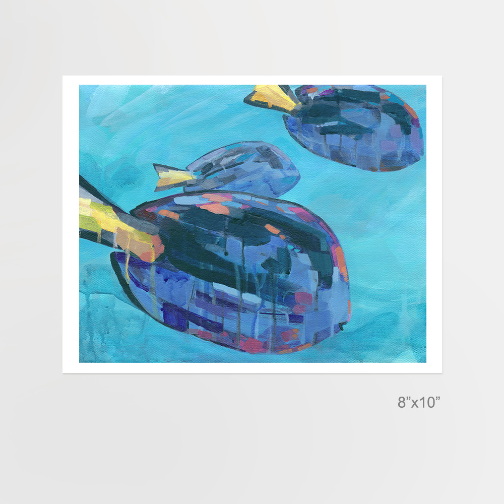 Three Blue Tangs, 8x10 abstract fish print, by Cortney North