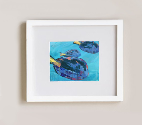 Three Blue Tangs, 8x10 print in picture frame, by Cortney North