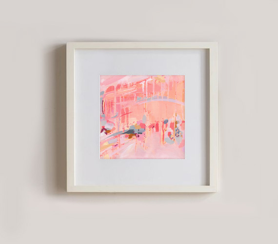 'Confetti and Celebration' abstract art print in white frame by Cortney North