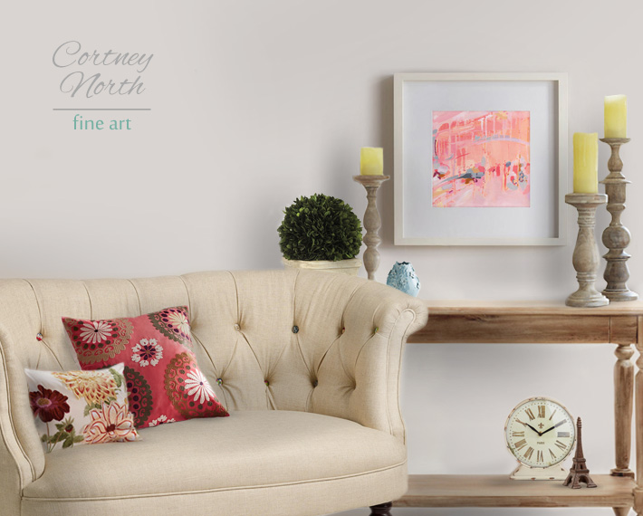 'Confetti and Celebration' abstract art print in a living room by Cortney North