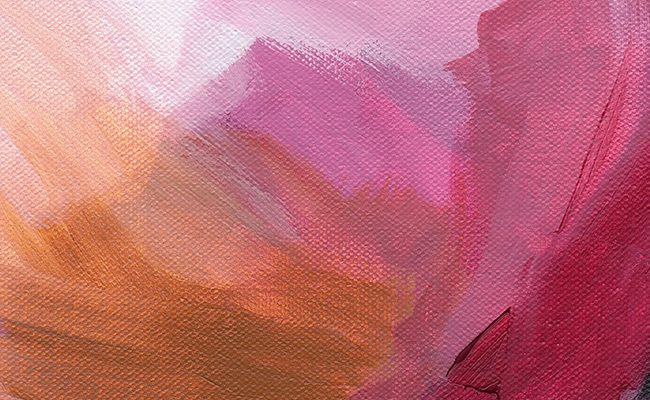 Hibiscus abstract art print, red and pink painting by Cortney North