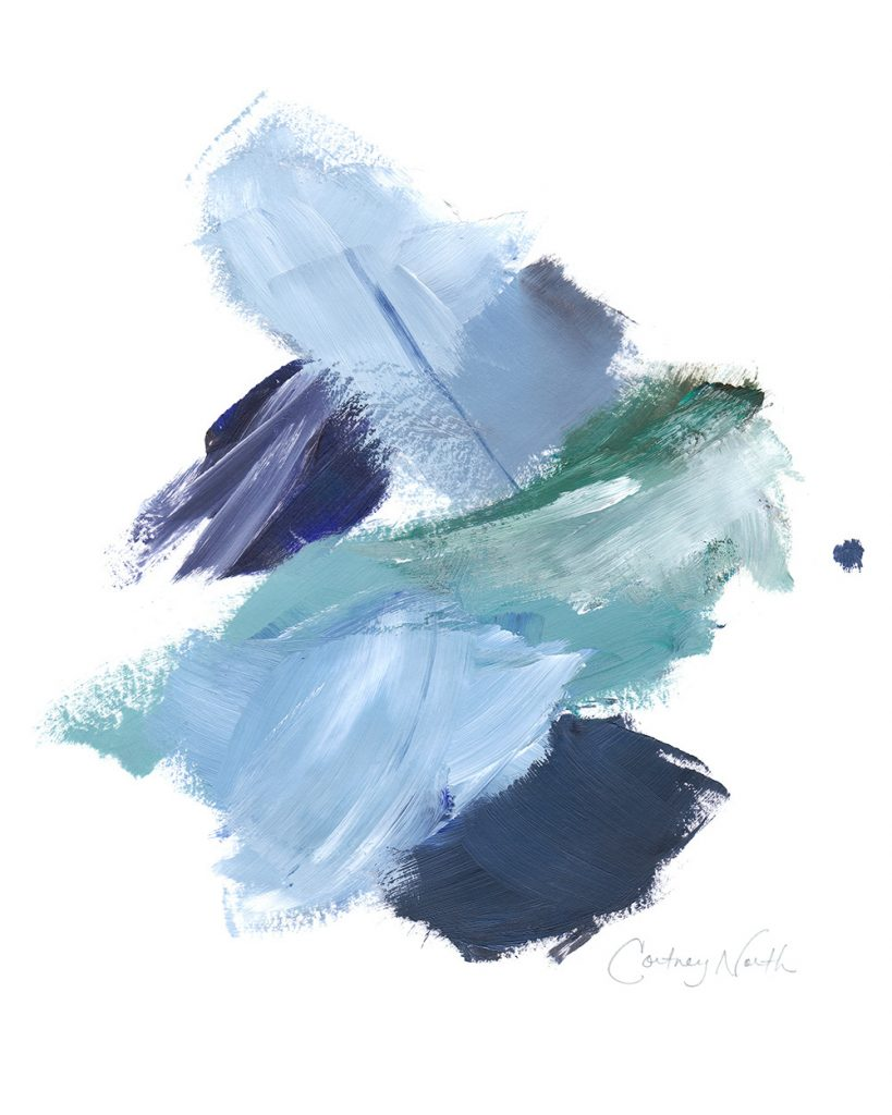 Navy and Teal Composition, blue and green abstract art, Beach interior