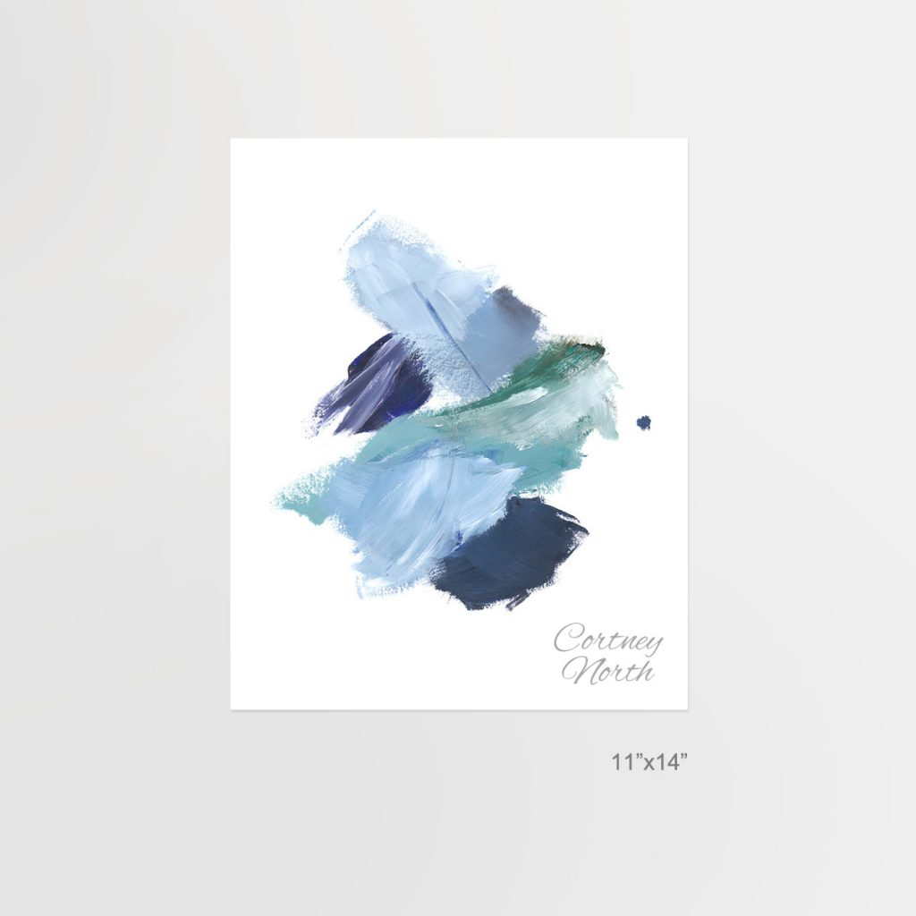 Navy and Teal Composition, blue and green abstract art, 11x14, Beach interior