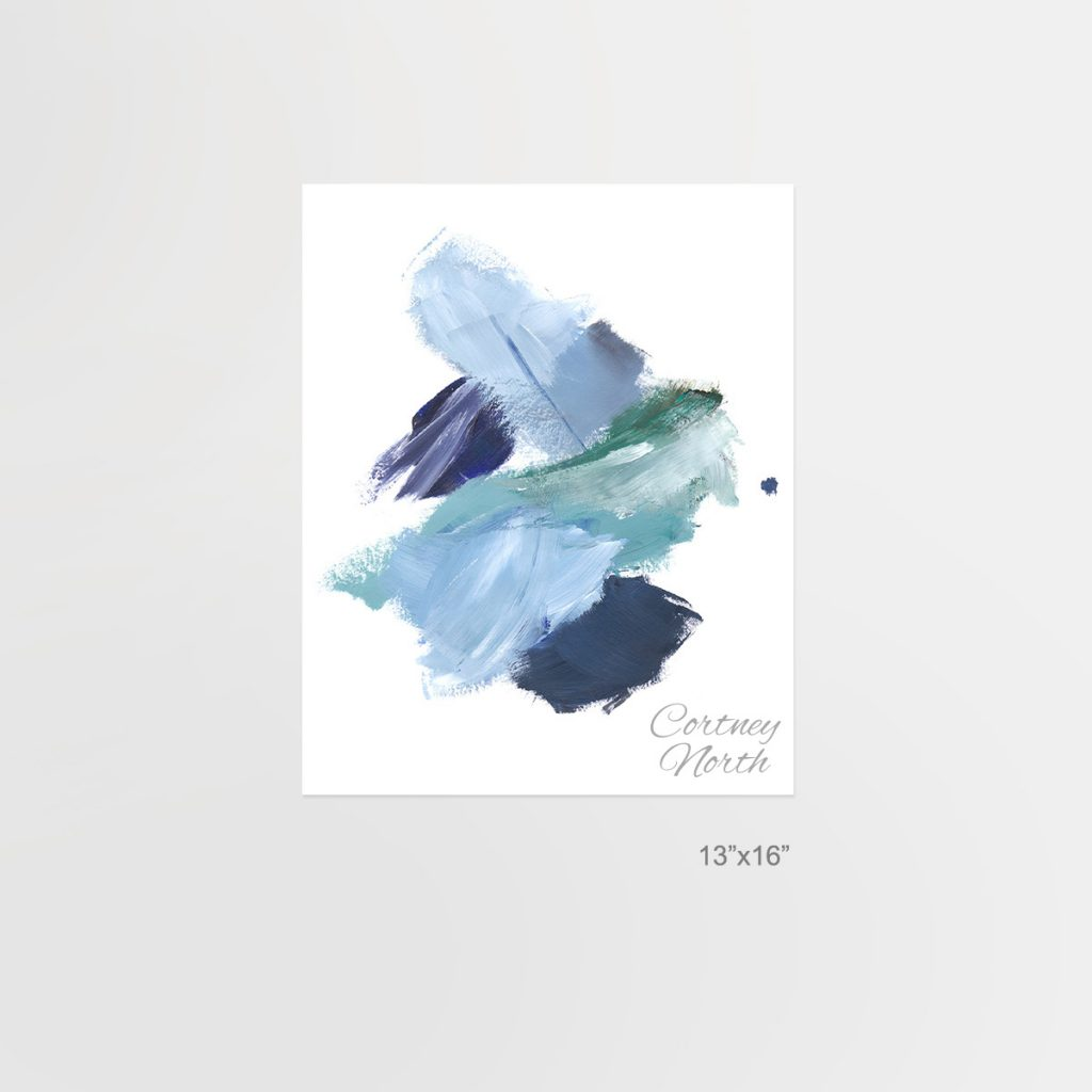Navy and Teal Composition, blue and green abstract art, 13x16, Beach interior