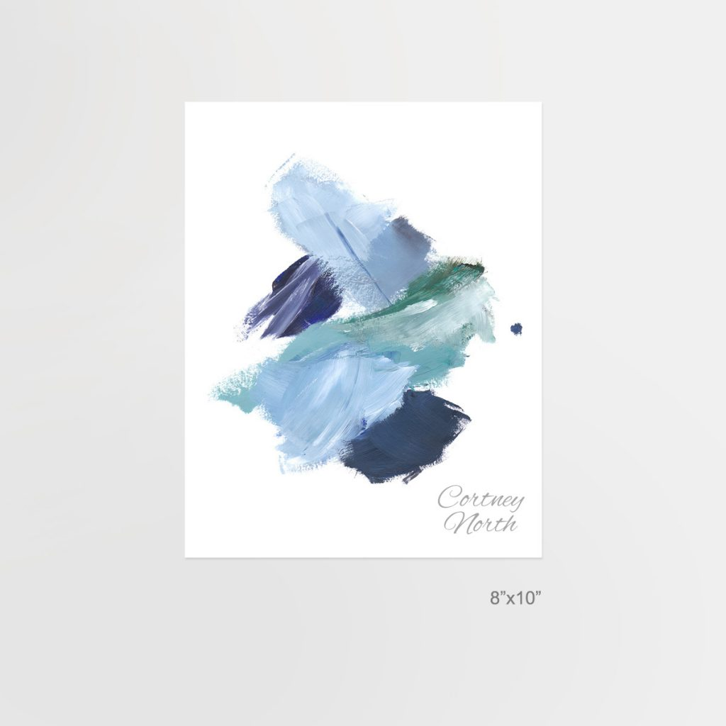 Navy and Teal Composition, blue and green abstract art, 8x10, Beach interior