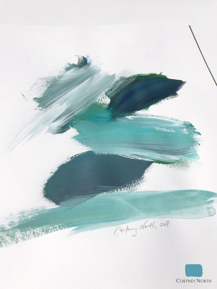 """Water Movement #4"" acrylic on paper turquoise abstract original painting by Cortney North"